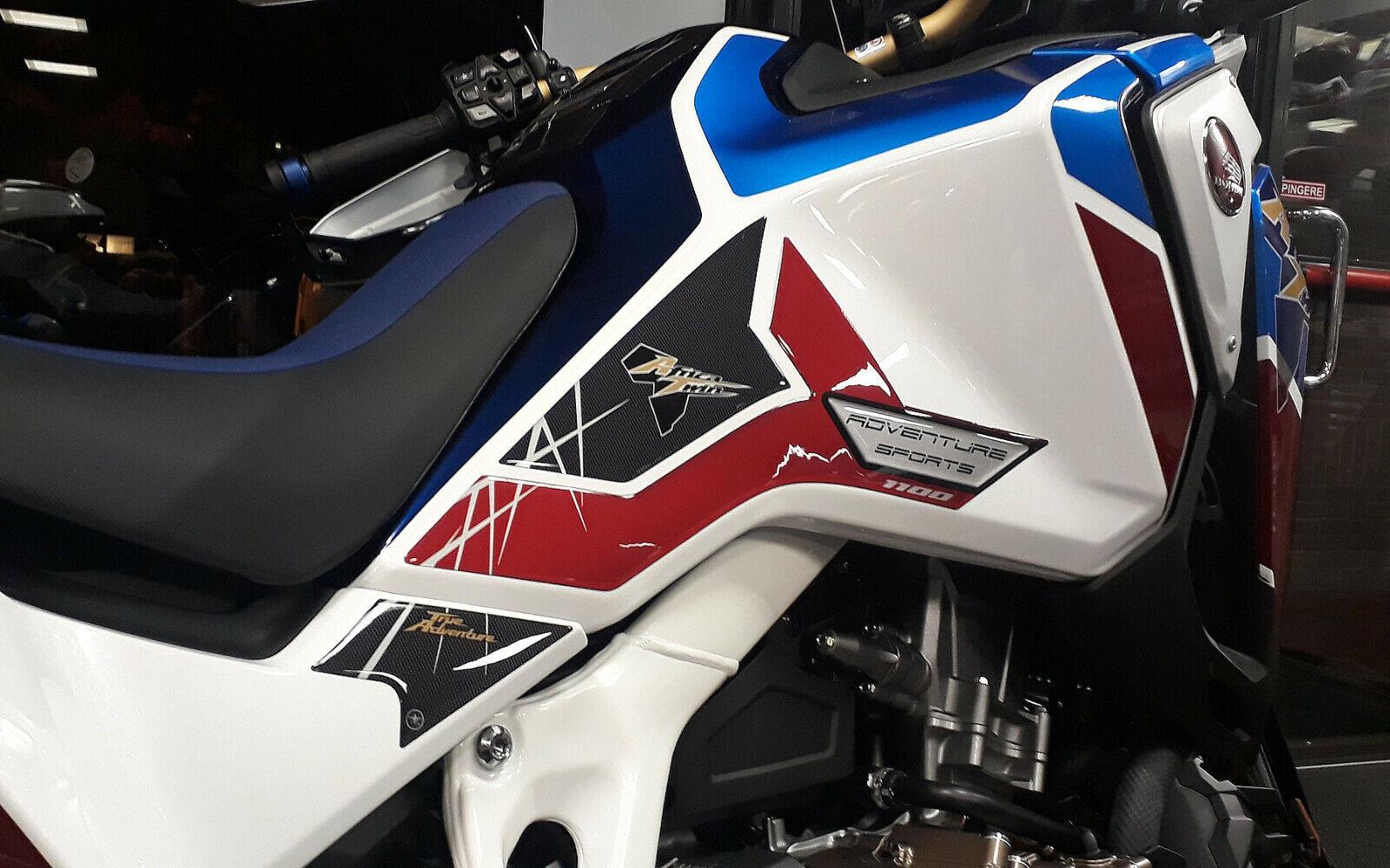2 PROTEZIONI 3D LATERALI MOTO compatibile con HONDA AFRICA TWIN ADVENTURE 1100 colore nero