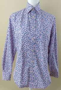 Boden-Womens-Blouse-Size-XS-Pink-Blue-Floral-Long-Sleeve-Button-Down-Top