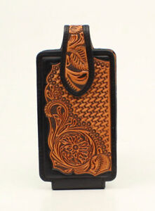 hot sale online 9e857 18294 Details about MEDIUM ~Leather PHONE HOLSTER~ Rotating Clip - Western -  Brn/Blk Leather 0689308