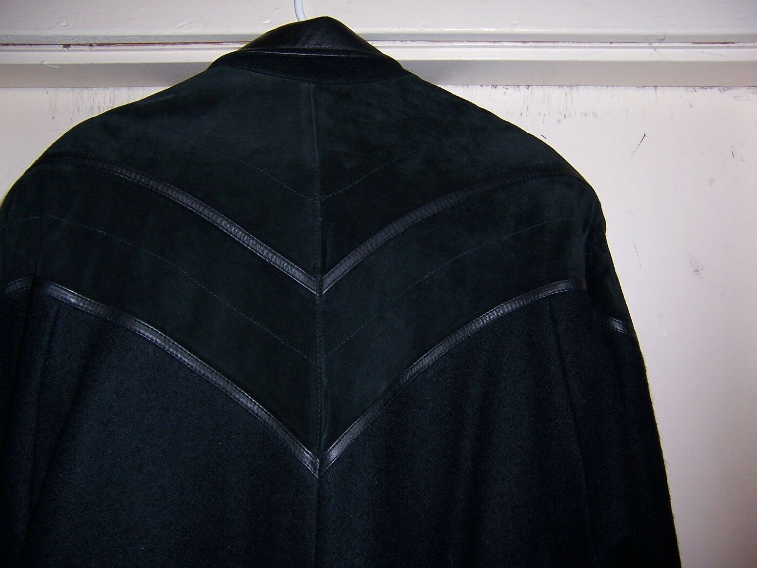 WOMENS DAVID BENJAMIN WOOL LEATHER OVERCOAT EXCELLENT ACROSS ACROSS ACROSS CHEST 26 INCHES XL ad7d10