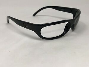 RAY-BAN-RB4033-601-Sunglasses-Frame-Italy-Mens-Black-Polished-Wrap-CW91