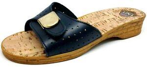 LINA ciabatte pantofole pelle da donna art 046 blu plantare sughero slippers