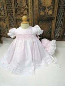 NWT Baby Infant Girl Stunning Will'beth Fancy Pink Dress Bonnet Lace Pearls 3m