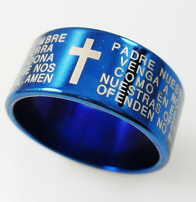 24pcs Blue 10MM Spanish Lord's Prayer Stainless Steel Rings Men Fashion Jewelry