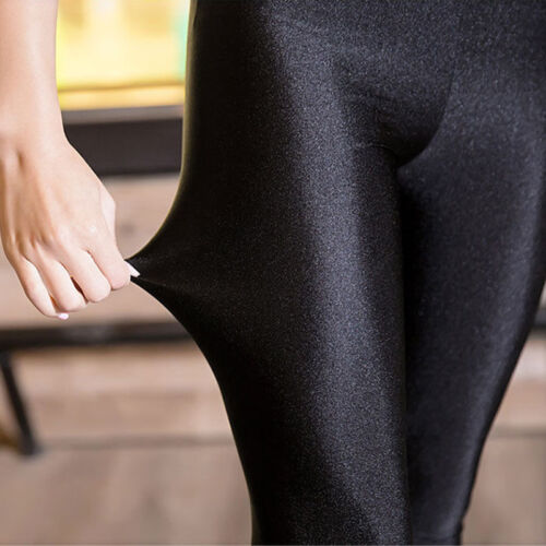 Ladies Breathable Shiny Solid Black Leggings Skinny pants Women Trousers S-XXL