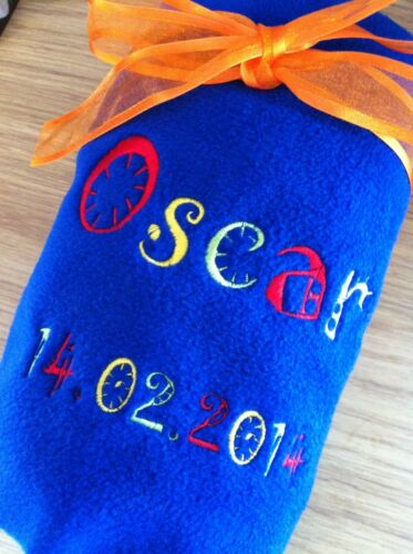 PERSONALISED FUNKY FONT EMBROIDERED FLEECE BABY BLANKET BOY//GIRL,GIFT,10 COLOURS