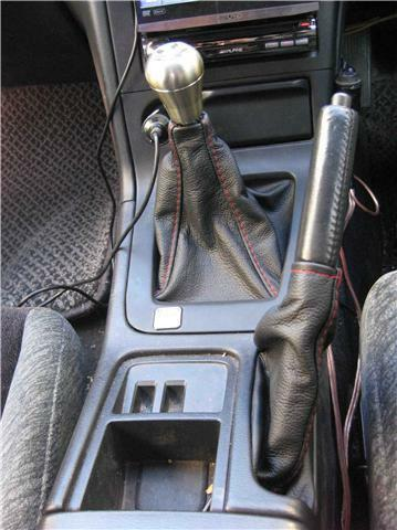 FITS NISSAN SKYLINE R33 LEATHER GAITERS SET RED STITCHING