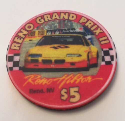 Reno Hilton $5 Casino Chip 1997 Grand Prix II Racing Nevada Auto Race