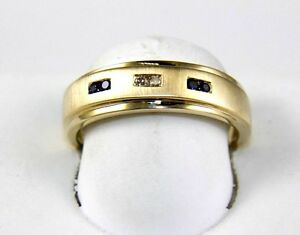 Round-Diamond-amp-Blue-Sapphire-Channel-Men-039-s-Ring-Band-14k-Yellow-Gold-16Ct