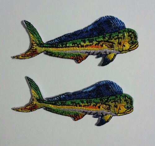 """Dolphin Mahi Fishing iron on 2 patches  3 3//16/"""" small for shirts hats gear"""