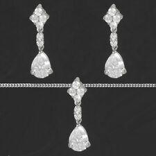 Hochzeit Damen Braut Schmuck Set Ohrringe Kette Echt Silber 925 Brautschmuck Neu
