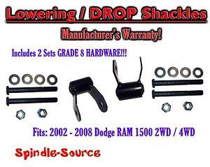 2002-2008-Dodge-Ram-1500-2-034-Drop-Lowering-Shackles-2WD-4x4-Grade-8-hardware-x2
