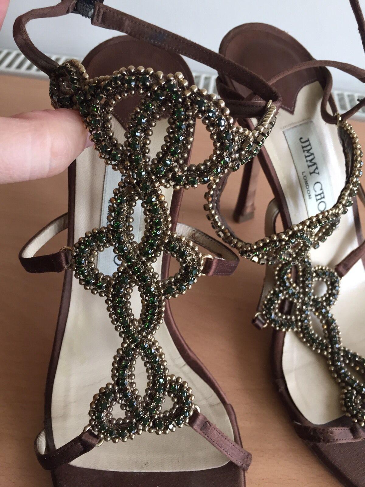 Jimmy Choo Brown Silk Jewels Heels, Size 39, Stunning