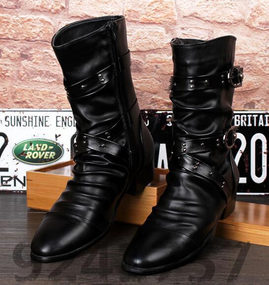 Gr:37-44 High-top Schuhe Stiefel Niet Britischen Stil Herren Winterstiefel