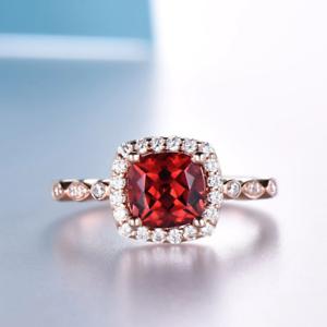 1-6ct-Cushion-Cut-Red-Garnet-Engagement-Ring-Diamond-Halo-14k-Rose-Gold-Finish