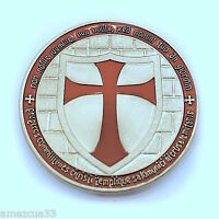 Silver Knight Templar 1.5 Round Two Face Coin Heavy Alloy For Templar Military