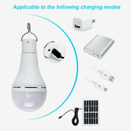 USB Rechargeable Solar Panel Powered LED Bulb Light Hook Home Camping Tent Lamp