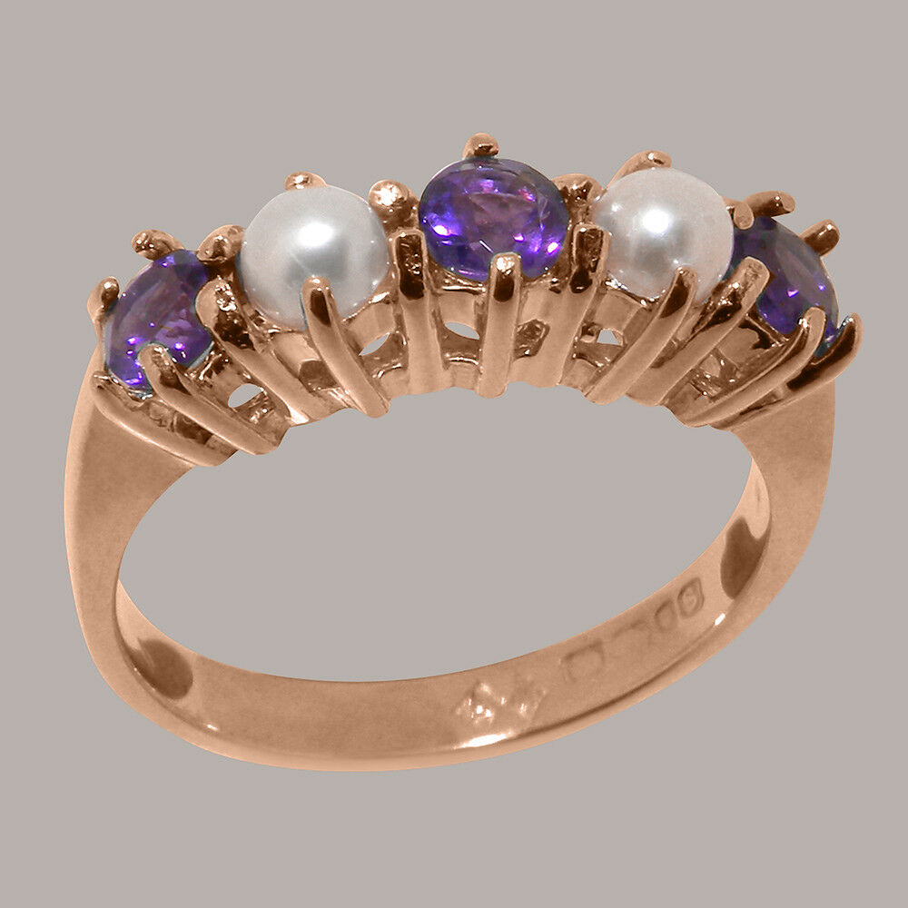 10k pink gold Natural Amethyst & Pearl Womens Eternity Ring - Sizes 4 to 12