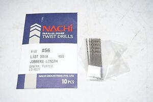 10-new-NACHI-Size-56-501A-Jobber-Length-HSS-Parallel-Shank-Twist-Drill-Bits