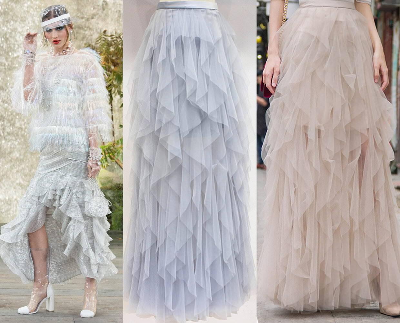 Designer Flounce Cascade Ruffle Tiered Iregular Maxi Long Tulle Mesh Sheer Skirt