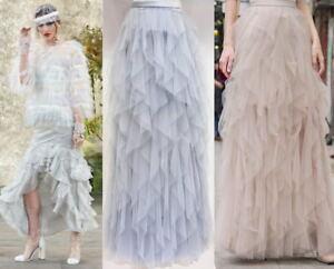 Designer-Flounce-Cascade-Ruffle-Tiered-Iregular-Maxi-Long-Tulle-Mesh-Sheer-Skirt