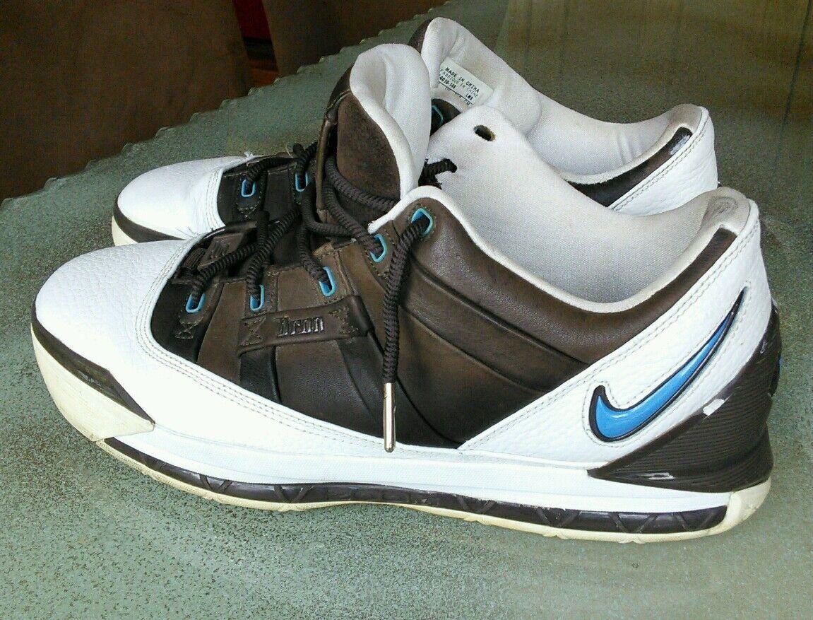 Vintage 06 Nike Zoom LEBRON III 3 LOW WHITE UNIVERSITY BLUE BAROQUE BROWN