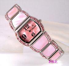 Deco Rainbow Pink Abalone Paua Papua Shell Crystal Silver Tone Ladies Wag Watch