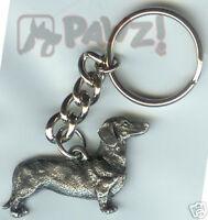 Dachshund Smooth Dog Fine Pewter Keychain Key Chain Ring