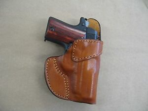 Details about Leather Clip On OWB Belt Concealment Holster For Springfield  911  380 CCW TAN RH