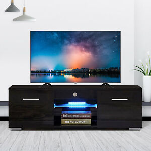 High-Gloss-Black-TV-Stand-Unit-Cabinet-w-LED-Shelves-2-Drawers-Remote-Control