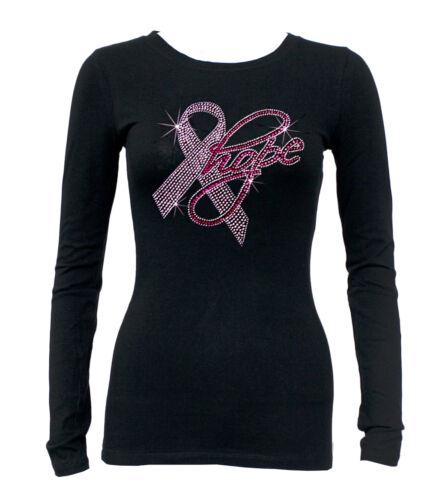 Junior/'s Rhinestone Breast Cancer HOPE Black Long Sleeve T Shirt pink ribbon Tee