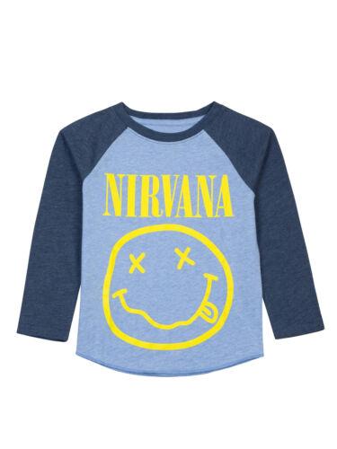 Toddler Nirvana Band Smiley Face T-Shirt Long Sleeve Raglan Blue