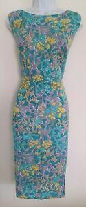 Para-Mujer-Oriental-Azul-Multi-Floral-Vestido-Recto-Lino-Algodon-Sin-Mangas-16-en-muy-buena