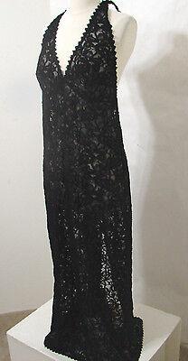 VERDE VERONICA Black Net Lace Tie Halter Maxi Gown 10