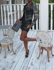New designer Sold out Bebe Bobble black leather studded moto jacket coat  XS 0-2