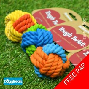 Rope-amp-Rubber-Ball-Dog-Toy-Rosewood-Tough-Twist-Throw-Fetch-Bounce-Chew