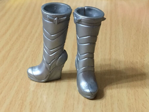 Barbie My Scene Doll Shoes Fashionistas Fashion Fever Silver Color Wedge Boots