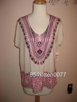 Gorgeous $69 Nurture Dillards Cream Aztec Print V-neck Top Blouse Med