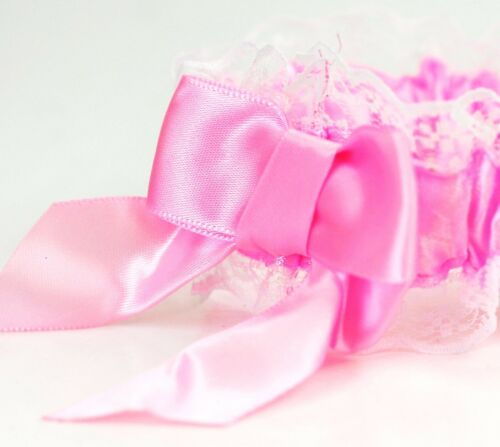 Night White Lace Garter Hen Party Bride To Be Wedding Bridal Do White Pink