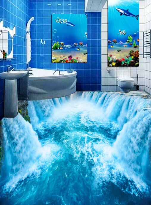 3D Blau Waterfall 563 Floor WallPaper Murals Wall Print 5D AJ WALLPAPER UK Lemon