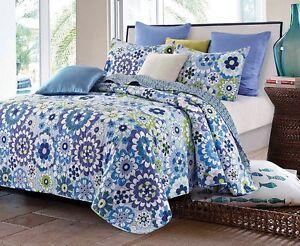 Fiori Blue Full Queen Quilt Set Teen Flowers Green Purple