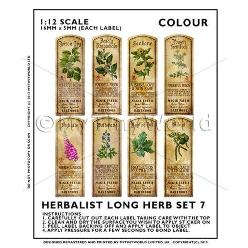 Casa De Muñecas herbolario//Boticario Set 7 Etiqueta de hierba larga color