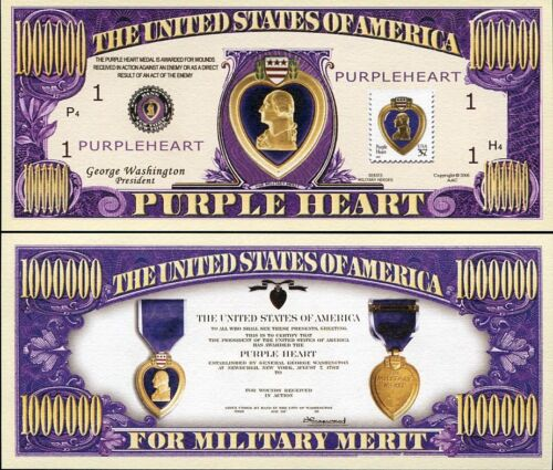 "UNITED STATES /""USA PURPLE HEART/"" FOR MILITARY MERIT DOLLAR BILL"