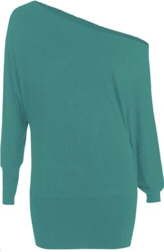Womens plus size top long sleeve off shoulder big size T-shirt UK 16-28 Batwing