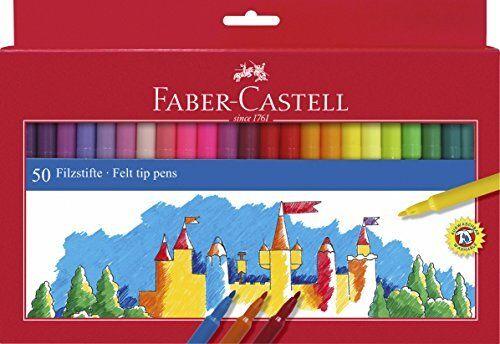 verschiedene Farben 50 Stück Faber-Castell 554250 Filzstifte