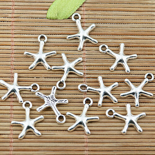 32pcs tibetan silver tone cute little starfish charms EF1911