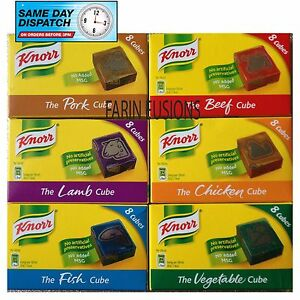 Details about KNORR STOCK CUBES FISH BEEF CHICKEN LAMB VEGETABLE HAM (8  CUBES PER PACK)