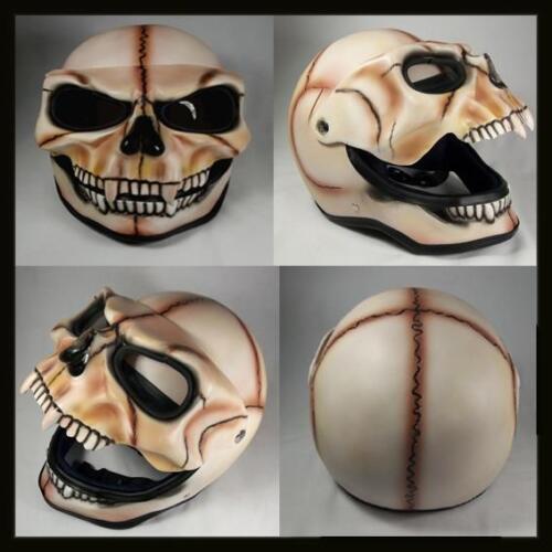 Skull Skeleton Visor Flip Up Motorcycle Helmet GHOST RIDER Open Face Airbrush