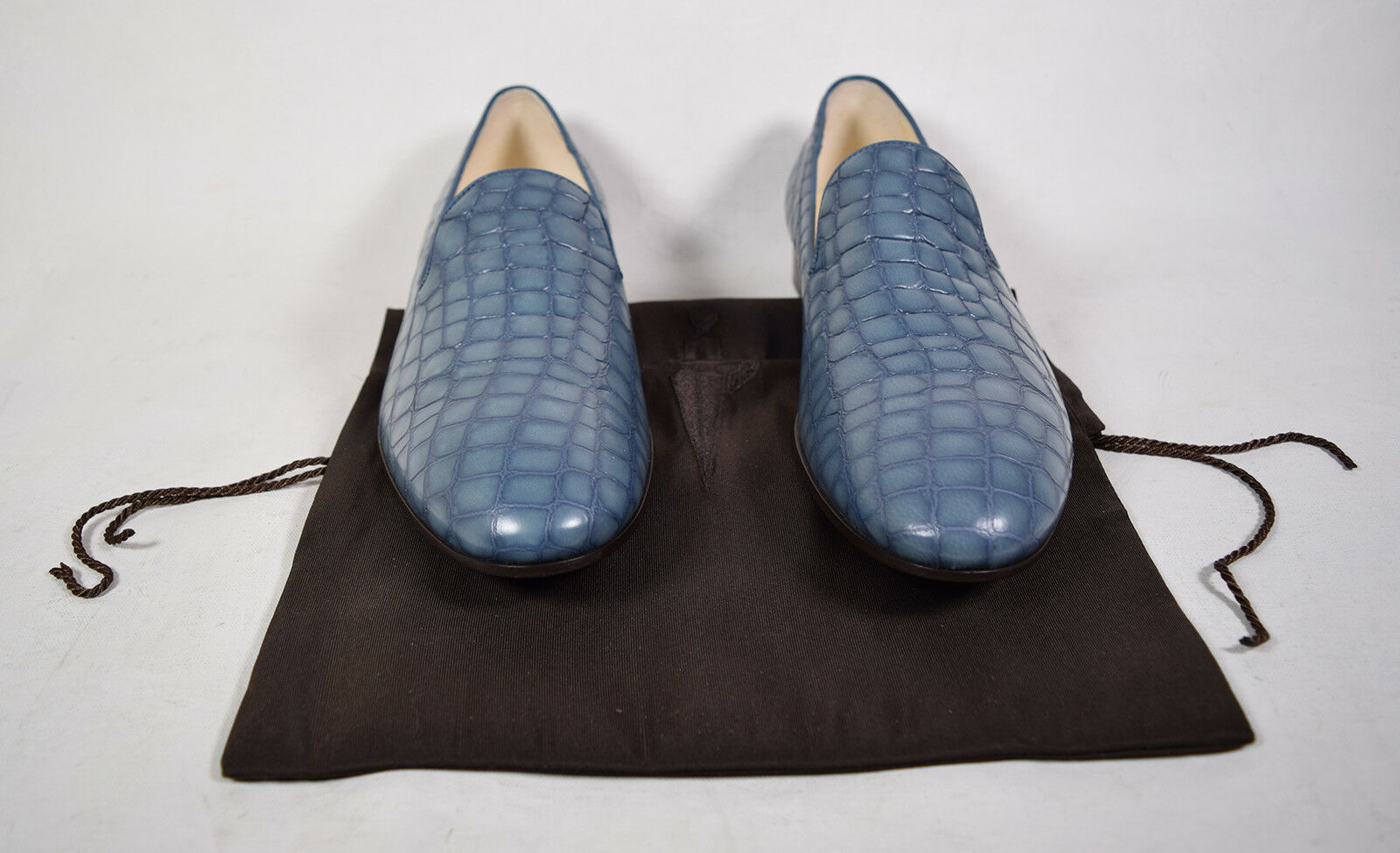 Nicole Simon Mens Loafer Leather Croc Print blu Slip On 8