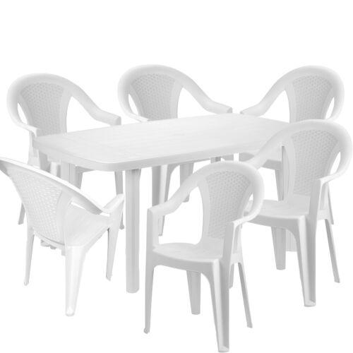 Mojawo® 7-teilige Gartengarnitur Kunststoff Esstisch Eckig 140x90cm Weiß